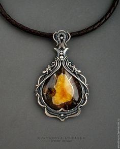Купить серебряный кулон с симбирцитом Остров - серебряный, кулон серебро, крупный кулон, реждкий камень