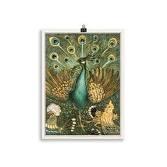 Lámina Pavo Real | Cosa Bonita | Láminas para cuadros Peacock Art, One Tree, Black Wood, Fine Art Paper, Giclee Print, Fine Art Prints, Museum, Tapestry, Wall Art