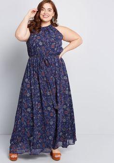 7c373fa5fc4 ModCloth Illuminated Elegance Chiffon Maxi Dress Blue Floral