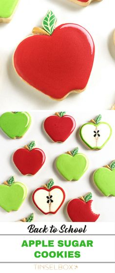 Apple Sugar Cookie DIY {Back to School} Apple cookies are perfect for back to school, teacher appreciation or teacher's gifts. Thank someone who is a teacher with this sweet DIY. Apple Cookies, Fall Cookies, Iced Cookies, Cookie Desserts, Chocolate Chip Cookies, Sugar Cookies, Cookie Recipes, Fall Desserts, Dessert Recipes