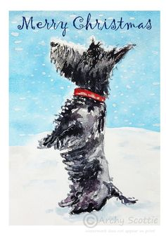Excited to share this item from my #etsy shop: Ten Scottie Dog 'Merry Christmas' A6 portrait Greeting cards GC#45