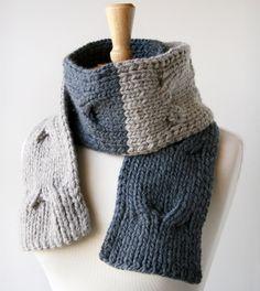 Colorblocked hand-knit merino wool scarf in shades of grey, custom order from ElenaRosenberg.com