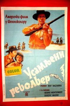 LONE GUN 54' WESTERN GEORGE MONTOGOMERY DOROTHY MALON CYRILLIC EXYU MOVIE POSTER