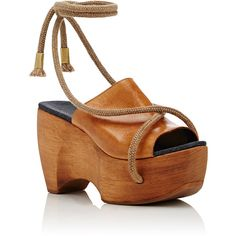 SIMON MILLER Women's Rope-Detail Clogs ($590) ❤ liked on Polyvore featuring shoes, clogs, wedge heel shoes, wood platform shoes, wedge clogs, open toe clogs and american shoes