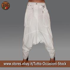 Pantalone  donna Made In Italy cavallo basso tasconi laterali  Bianco tg. 27