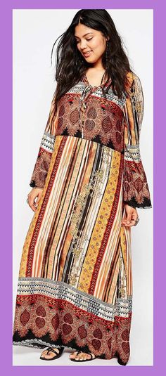pantone oak buff & marsala print plus size maxi dress - Bell Sleeves & Trumpet Sleeves & Poet Sleeves and More... cute... (article)  http://www.boomerinas.com/2015/07/22/bell-sleeve-dresses-blouses-wide-statement-sleeves-for-fall-2015-winter-2016/