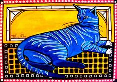 Blue Tabby - Cat Art - Cat Painting By #dorahathazi For kids, blue cats, funny cats, tabby cats, cute cats, colorful cats, whimsy cats, cute kittens, cat paintings, mackerel cats, tabby, cats, whimsical, mischievous, mosaic, quirky, colorful, gatos, kitty, kitten, feline, fantasy, pet, pets, nursery, watercolor, beautiful, artwork, sweet, funny, playful, lovely, catlover, catlovers, bright colors, for kids room, whimsical animals, Dora Hathazi Mendes