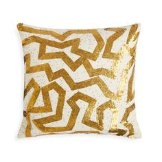 Gypset Glamour.Shimmering disks and beads made from real brass are embroidered on chunky white linen ground in our Talitha Pillow Collection.The dizzying maze pattern of the Talitha Graffiti Throw Pillow is Modern Art for your sofa. Crafty, couture, and exotic, these Talitha Pillows are perfect for your palazzo, yurt, ski lodge, or Park Avenue penthouse. Collect them all.