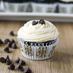 Rich chocolate cupcakes topped with cookie dough frosting, made with cream cheese and the sweetness of brown sugar