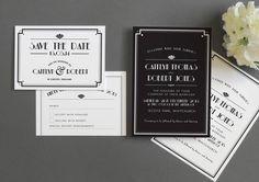 art deco style estelle wedding invitation by project pretty   notonthehighstreet.com