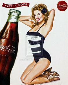 Have a Coke! Pin-up Coca Cola Life, Coca Cola Santa, Coca Cola Ad, Always Coca Cola, World Of Coca Cola, Coca Cola Bottles, Pepsi, Coke, Retro Ads