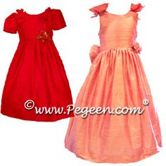 Silk Flower Girl Dresses 344 (shown in Christmas Red & Coral Rose)