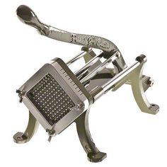 This french fry cutter made of cast iron material. Features a stainless steel trough and handle that makes potato cutting fast and easy while creating French Fry Cutter, Decoration, Kitchenware, Cast Iron, Stainless Steel, House Styles, Consistency, Kitchen Utensils, Doors