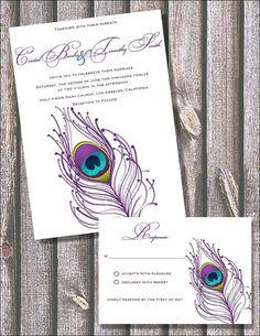 pretty purple peacock invite