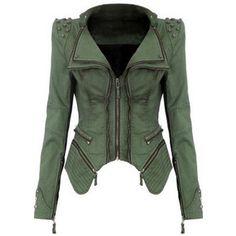 Rotita Green Turndown Collar Rivet Decorated Jacket