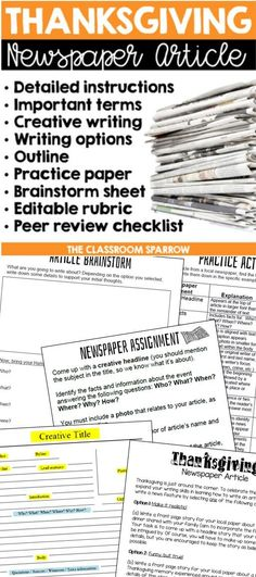 Thanksgiving Newspaper Article Creative Writing Template Editable Rubric