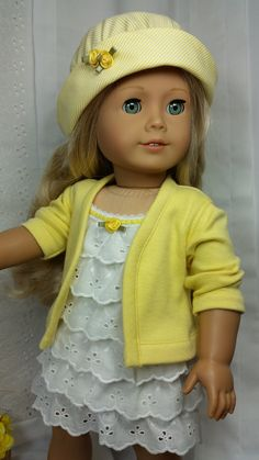 Eyelet Dress with Hat and Cotton Knit Sweater by DollClothesbyShirley - SOLD