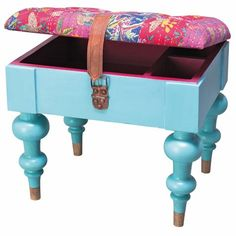 Storage stool - DIY idea using box and leg chairs.  i have an old hard style suitcase i could do this with.