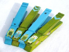 hand painted magnetic clothespin