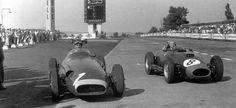 1957 German GP, Nurburgring : Juan Manuel Fangio (Maserati 250F, Winner) and Mike Hawthorn (Ferrari 801, 2nd). (ph: deviantart.com)
