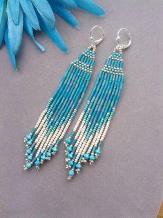 Native American Beadwork Earrings Beaded Earrings by purplesage333