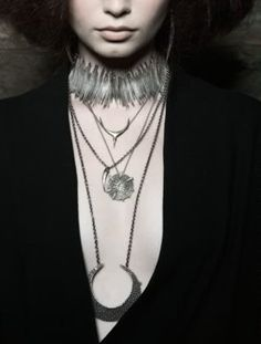 stacked necklaces - love the crescent moon one