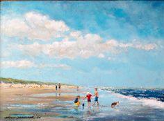 Herman Dasselaar. Kinderen met hondje op het strand van Vlieland. Acryl on canvas 30x 40 cm