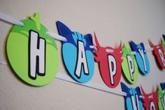 Masks Inspired Birthday Party Banner Happy by LetsGetDecorative