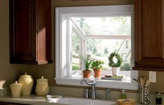 Garde window above a kitchen sink Kitchen Garden Window, Garden Windows, Kitchen Windows, Growing Herbs, House Goals, Smart Home, My Dream Home, Window Treatments, Home Remodeling