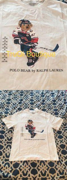 Tops Shirts and T-Shirts 175521: Polo Bear Ralph Lauren T Shirt Boys Kids Big Pony Hockey Bear Sz Medium 10-12 -> BUY IT NOW ONLY: $45.99 on eBay!