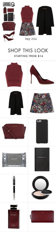 """May#6"" by paulinayantarnaya ❤ liked on Polyvore featuring WearAll, Sergio Rossi, Burberry, Valentino, MICHAEL Michael Kors, Case-Mate, Dermalogica, Smythson, Parker and MAC Cosmetics"