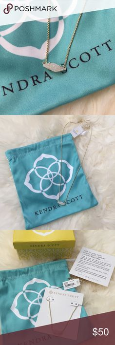 "Kendra Scott Bridgete Pendant Necklace Kendra Scott Bridgete Pendant Necklace in Iridescent Drusy. 14k gold plated over brass. 16"" chain with 2"" extender. Brand new. Will ship with jewelry pouch, branded box, and care instructions. Kendra Scott Jewelry Necklaces"