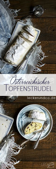 ÖsterreichischerTopfenstrudel - Another! Bavarian Recipes, Austrian Recipes, Hungarian Recipes, Just Desserts, Dessert Recipes, Austrian Cuisine, Tasty, Yummy Food, Colorful Cakes