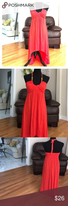 Gorgeous Coral Hi Lo Dress Perfect summer dress right here! 28/38 inches respectively from chest. Beaded straps, padded chest, stunning island feel coral dress. NWOT Moa Moa Dresses High Low