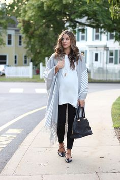 Maternity fashion and perfect fall layering with ponchos.