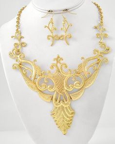Marie Antoinette Gold Filigree Statement Necklace - Strike Envy, $48 See more at StrikeEnvy.com, #statementjewelry #jewelry #baroque