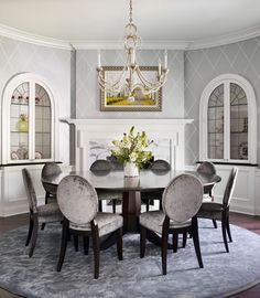 wallpaper...Traditional Dining Room White And Grey Dining Room Design, Pictures, Remodel, Decor and Ideas - page 2