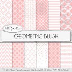 "Geometric digital papers ""GEOMETRIC BLUSH"" blush colored geometric shapes, quatrefoil, triangles, chevron, ikat, polkadots, harlequin"