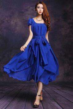 2819fd70455 Irregular Hemline Bound Waist Short Sleeve Dress