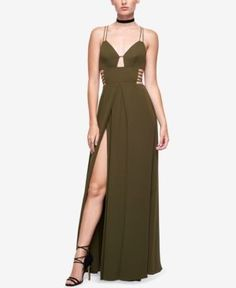 Fame and Partners Georgette High-Slit Maxi Dress  - Green 2S