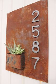 Steel Wall Planter with House Number
