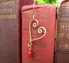 How To Make Beaded Bookmarks | Open Heart Beaded Valentine Bookmark - Handmade from Red Coral and ...