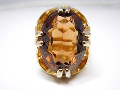 1940s 18K HGE Cognac Citrine Ring by AJMartinJewelry on Etsy, $225.00