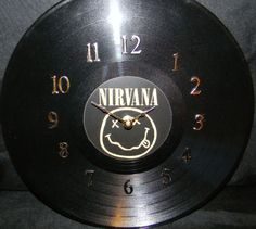 NIRVANA Vinyl Record Wall Clock by PandorasCreations on Etsy, $25.00