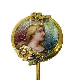 Art Nouveau 14K Gold Enamel Figural Stick Pin