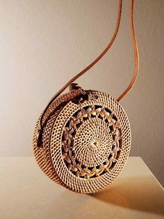 Folk Fortune rattan Roundie bag, from Rattan, Round Straw Bag, Basket Bag, Summer Bags, Sale Items, Bag Making, Fashion Bags, Purses And Bags, Shoulder Bag