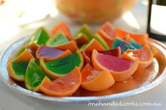 one handed cooks: kids party food: jelly oranges