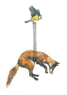 Stork Illustration Flying Fox / Bird by BecciMaryanne on Etsy