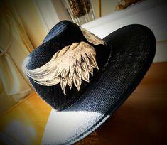 Handpainted hat angels wings!!!By Sissy Marinou