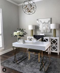 Shabby chic home design chic home office chic home office decor tips for winter shabby chic Home Office Table, Home Office Space, Home Office Desks, Home Office Furniture, Office Rug, White Office Decor, Grey Office, Office Desk Lamps, Office Chic